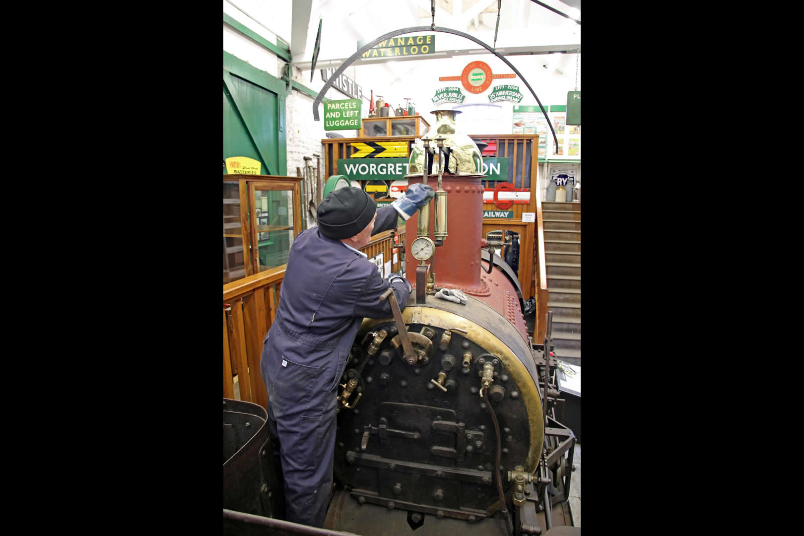 Cleaning Secundus  in Swanage Railway Museum